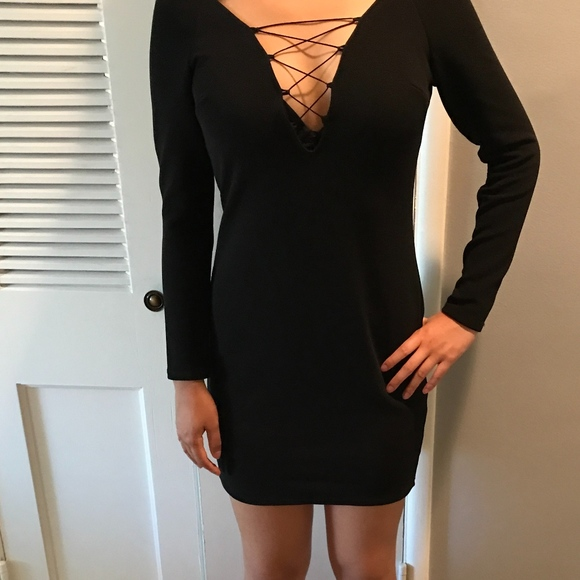 6027f919872 Topshop Plunge Lace-Up Mini Bodycon Dress NWT